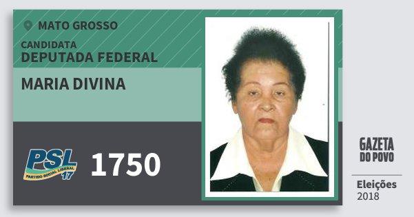 Santinho Maria Divina 1750 (PSL) Deputada Federal | Mato Grosso | Eleições 2018