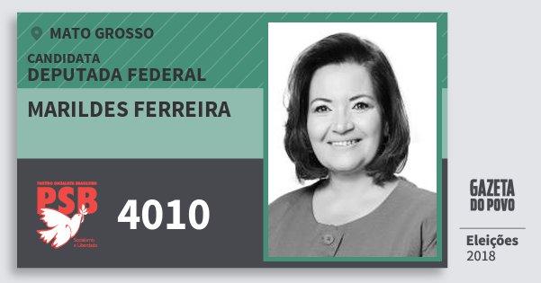 Santinho Marildes Ferreira 4010 (PSB) Deputada Federal | Mato Grosso | Eleições 2018