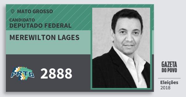 Santinho Merewilton Lages 2888 (PRTB) Deputado Federal | Mato Grosso | Eleições 2018