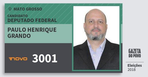 Santinho Paulo Henrique Grando 3001 (NOVO) Deputado Federal | Mato Grosso | Eleições 2018