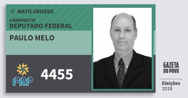 Santinho Paulo Melo 4455 (PRP) Deputado Federal | Mato Grosso | Eleições 2018
