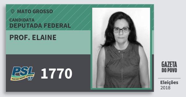 Santinho Prof. Elaine 1770 (PSL) Deputada Federal | Mato Grosso | Eleições 2018