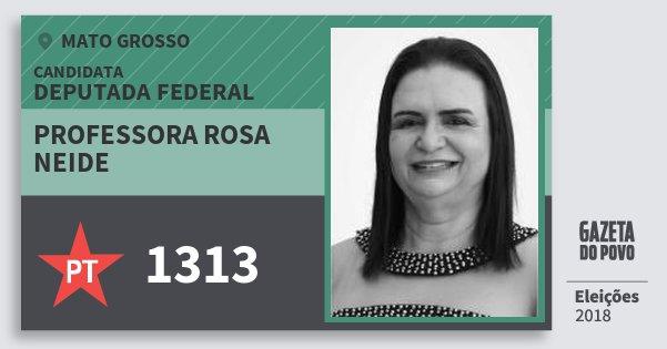 Santinho Professora Rosa Neide 1313 (PT) Deputada Federal | Mato Grosso | Eleições 2018
