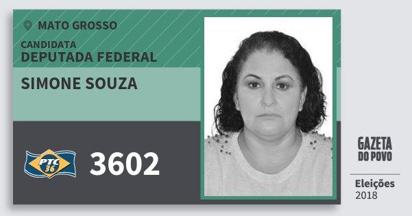 Santinho Simone Souza 3602 (PTC) Deputada Federal | Mato Grosso | Eleições 2018