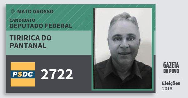 Santinho Tiririca do Pantanal 2722 (DC) Deputado Federal | Mato Grosso | Eleições 2018