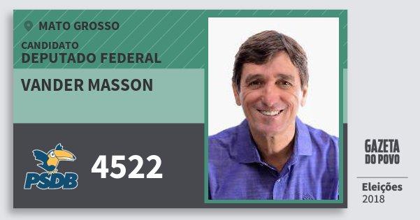 Santinho Vander Masson 4522 (PSDB) Deputado Federal | Mato Grosso | Eleições 2018