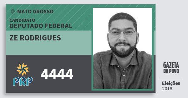 Santinho Ze Rodrigues 4444 (PRP) Deputado Federal | Mato Grosso | Eleições 2018
