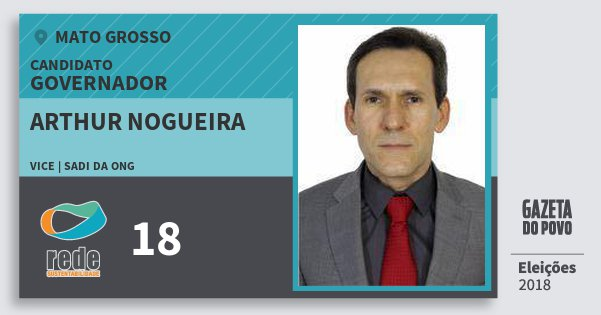 Santinho Arthur Nogueira 18 (REDE) Governador | Mato Grosso | Eleições 2018
