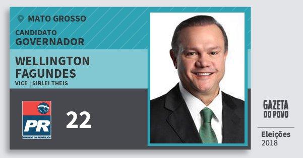 Santinho Wellington Fagundes 22 (PR) Governador | Mato Grosso | Eleições 2018