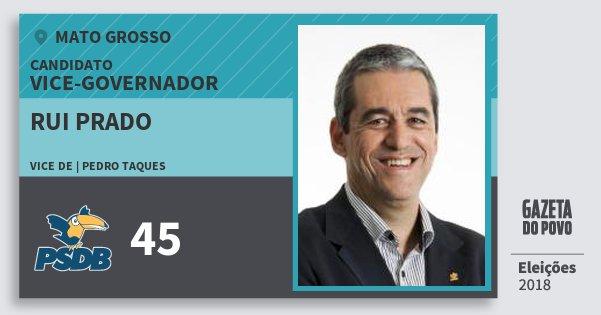 Santinho Rui Prado 45 (PSDB) Vice-governador | Mato Grosso | Eleições 2018