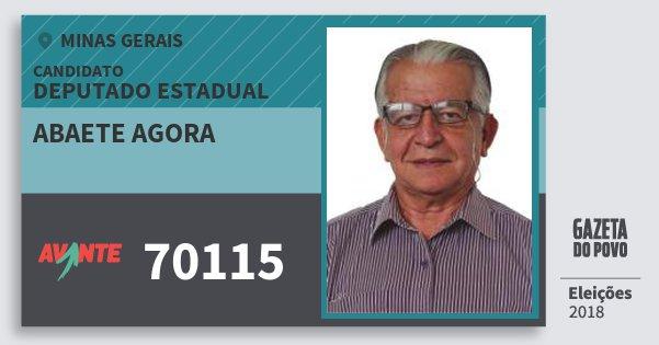 Santinho Abaete Agora 70115 (AVANTE) Deputado Estadual | Minas Gerais | Eleições 2018