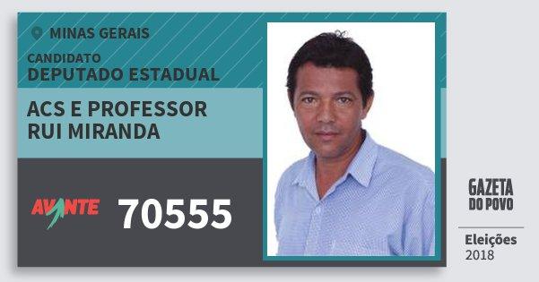 Santinho Acs e Professor Rui Miranda 70555 (AVANTE) Deputado Estadual | Minas Gerais | Eleições 2018