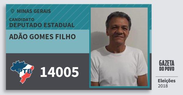 Santinho Adão Gomes Filho 14005 (PTB) Deputado Estadual | Minas Gerais | Eleições 2018