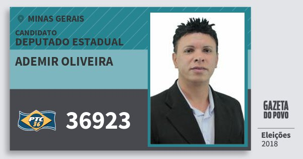 Santinho Ademir Oliveira 36923 (PTC) Deputado Estadual | Minas Gerais | Eleições 2018
