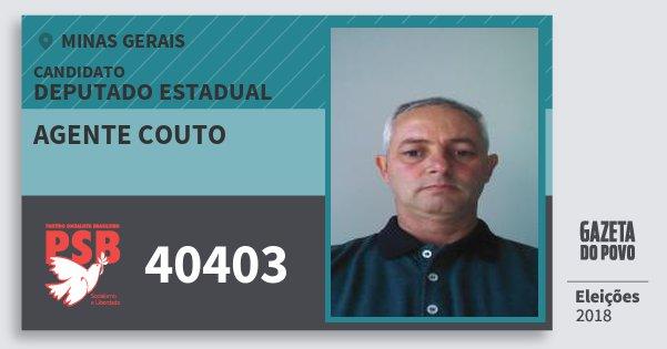 Santinho Agente Couto 40403 (PSB) Deputado Estadual | Minas Gerais | Eleições 2018
