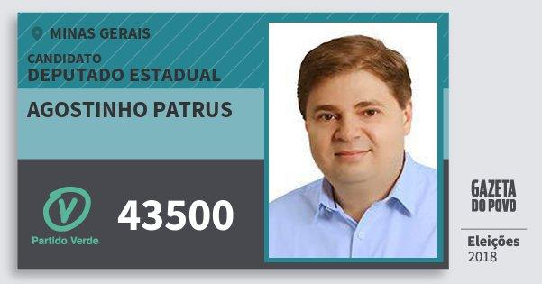 Santinho Agostinho Patrus 43500 (PV) Deputado Estadual | Minas Gerais | Eleições 2018
