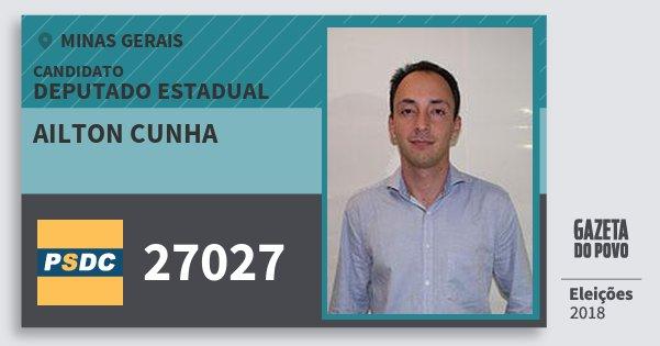 Santinho Ailton Cunha 27027 (DC) Deputado Estadual | Minas Gerais | Eleições 2018