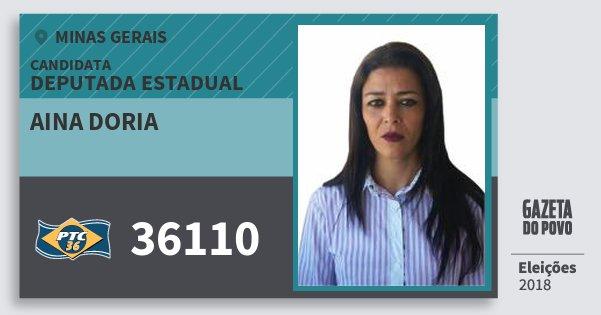 Santinho Aina Doria 36110 (PTC) Deputada Estadual | Minas Gerais | Eleições 2018