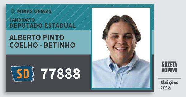 Santinho Alberto Pinto Coelho - Betinho 77888 (SOLIDARIEDADE) Deputado Estadual | Minas Gerais | Eleições 2018