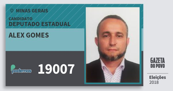 Santinho Alex Gomes 19007 (PODE) Deputado Estadual | Minas Gerais | Eleições 2018