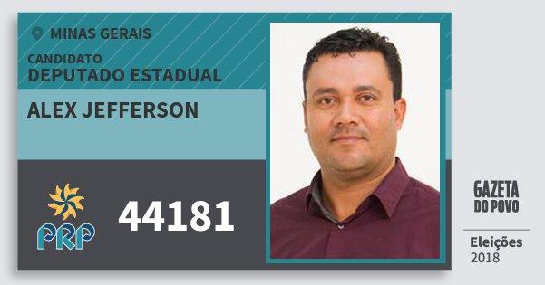 Santinho Alex Jefferson 44181 (PRP) Deputado Estadual | Minas Gerais | Eleições 2018