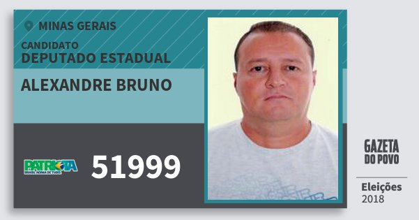 Santinho Alexandre Bruno 51999 (PATRI) Deputado Estadual | Minas Gerais | Eleições 2018