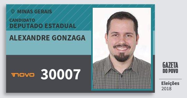 Santinho Alexandre Gonzaga 30007 (NOVO) Deputado Estadual | Minas Gerais | Eleições 2018
