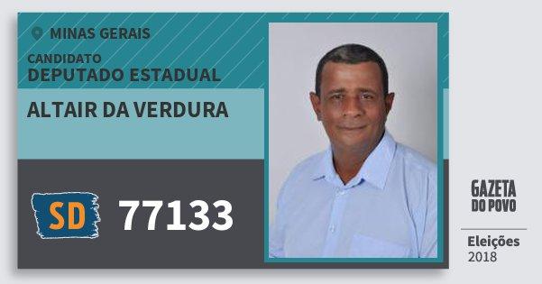 Santinho Altair da Verdura 77133 (SOLIDARIEDADE) Deputado Estadual | Minas Gerais | Eleições 2018