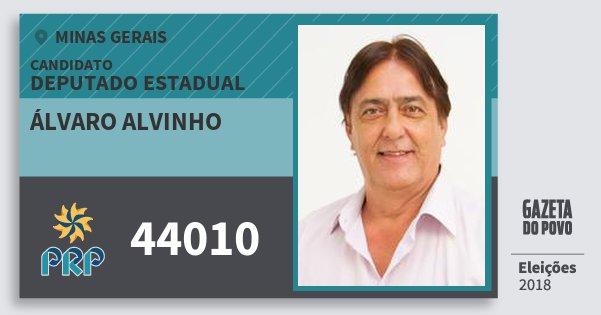 Santinho Álvaro Alvinho 44010 (PRP) Deputado Estadual | Minas Gerais | Eleições 2018