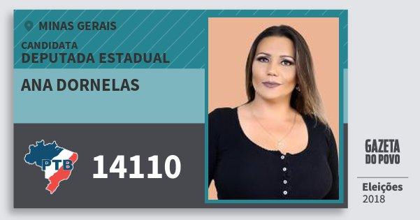 Santinho Ana Dornelas 14110 (PTB) Deputada Estadual | Minas Gerais | Eleições 2018