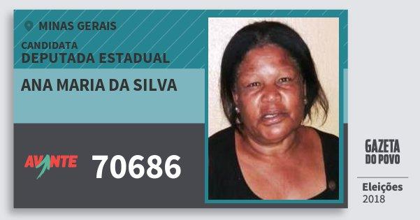 Santinho Ana Maria da Silva 70686 (AVANTE) Deputada Estadual | Minas Gerais | Eleições 2018