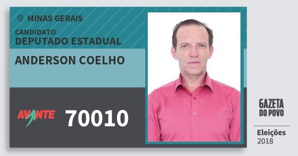 Santinho Anderson Coelho 70010 (AVANTE) Deputado Estadual | Minas Gerais | Eleições 2018