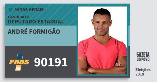 Santinho André Formigão 90191 (PROS) Deputado Estadual | Minas Gerais | Eleições 2018