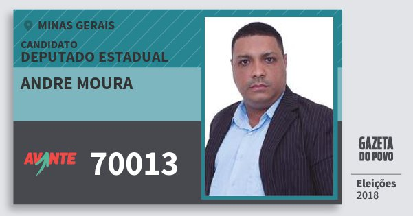 Santinho Andre Moura 70013 (AVANTE) Deputado Estadual | Minas Gerais | Eleições 2018