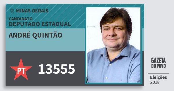 Santinho André Quintão 13555 (PT) Deputado Estadual | Minas Gerais | Eleições 2018