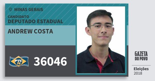 Santinho Andrew Costa 36046 (PTC) Deputado Estadual | Minas Gerais | Eleições 2018