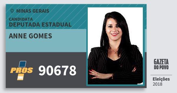 Santinho Anne Gomes 90678 (PROS) Deputada Estadual | Minas Gerais | Eleições 2018
