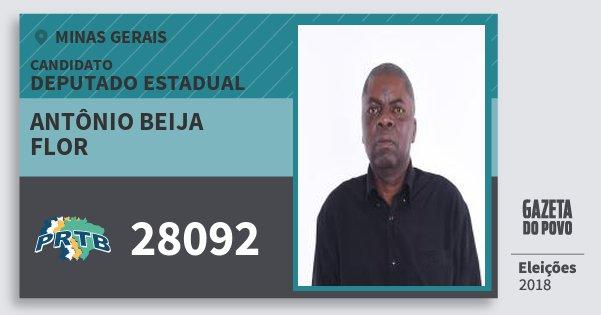 Santinho Antônio Beija Flor 28092 (PRTB) Deputado Estadual | Minas Gerais | Eleições 2018