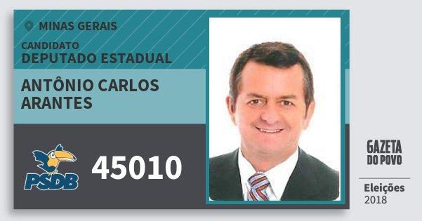 Santinho Antônio Carlos Arantes 45010 (PSDB) Deputado Estadual | Minas Gerais | Eleições 2018