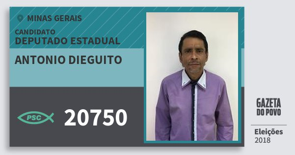 Santinho Antonio Dieguito 20750 (PSC) Deputado Estadual | Minas Gerais | Eleições 2018
