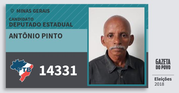 Santinho Antônio Pinto 14331 (PTB) Deputado Estadual | Minas Gerais | Eleições 2018