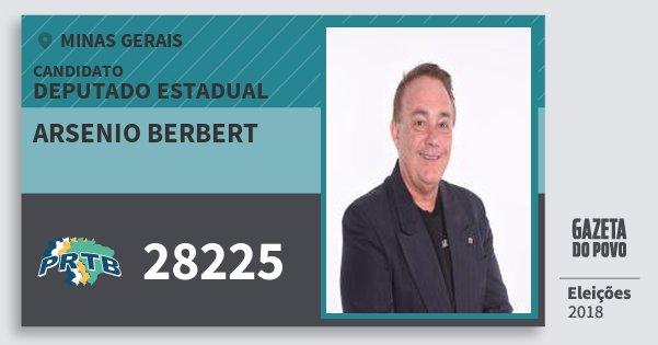 Santinho Arsenio Berbert 28225 (PRTB) Deputado Estadual | Minas Gerais | Eleições 2018