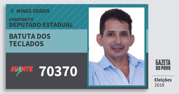 Santinho Batuta dos Teclados 70370 (AVANTE) Deputado Estadual | Minas Gerais | Eleições 2018