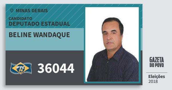 Santinho Beline Wandaque 36044 (PTC) Deputado Estadual | Minas Gerais | Eleições 2018