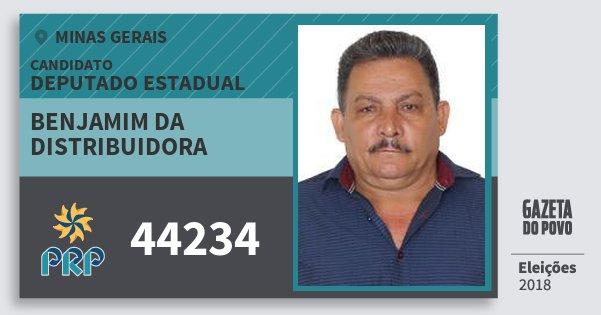 Santinho Benjamim da Distribuidora 44234 (PRP) Deputado Estadual | Minas Gerais | Eleições 2018