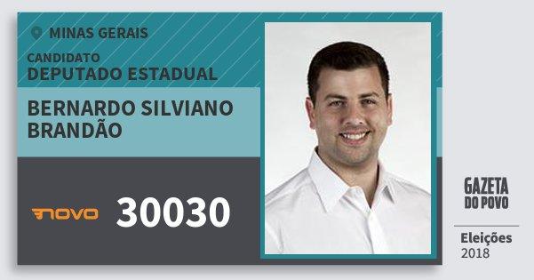 Santinho Bernardo Silviano Brandão 30030 (NOVO) Deputado Estadual | Minas Gerais | Eleições 2018