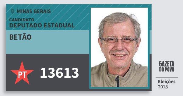 Santinho Betão 13613 (PT) Deputado Estadual | Minas Gerais | Eleições 2018