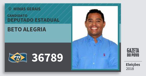 Santinho Beto Alegria 36789 (PTC) Deputado Estadual | Minas Gerais | Eleições 2018