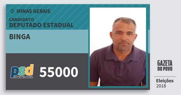Santinho Binga 55000 (PSD) Deputado Estadual | Minas Gerais | Eleições 2018