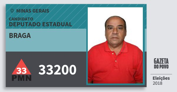 Santinho Braga 33200 (PMN) Deputado Estadual | Minas Gerais | Eleições 2018